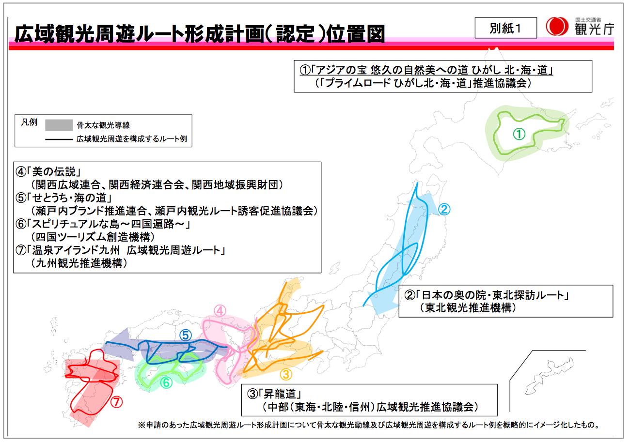 【別紙1】広域観光周遊ルート形成計画(認定)位置図 (出典:観光庁ウェブサイト)